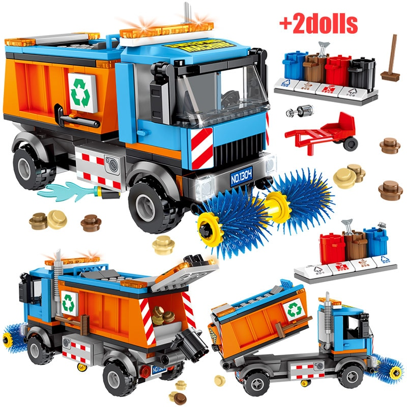 206PCS Technology Series Garbage Truck City Sweeping Model Car Puzzle Small Particles Assembled Toys For Adult Building Blocks