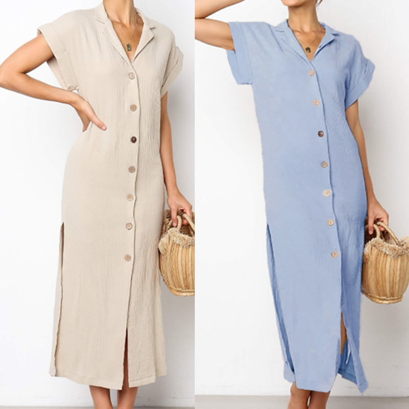ZANZEA-Vestido camisero largo de lino, prenda veraniega, Maxi, a la moda, de manga corta, con escote en V y botones, de talla grande, para mujer, 2020