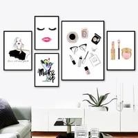 Tableau de Salon de maquillage  mode fille  decoration de chambre de fille  peinture murale minimaliste  impressions sans cadre pour la maison