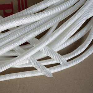 Chemical Fiberglass Tube ID 3mm Braided Wire Cable Sleeve Insulated Flame Resistant Soft Pipe High Temperature 600Deg.C White
