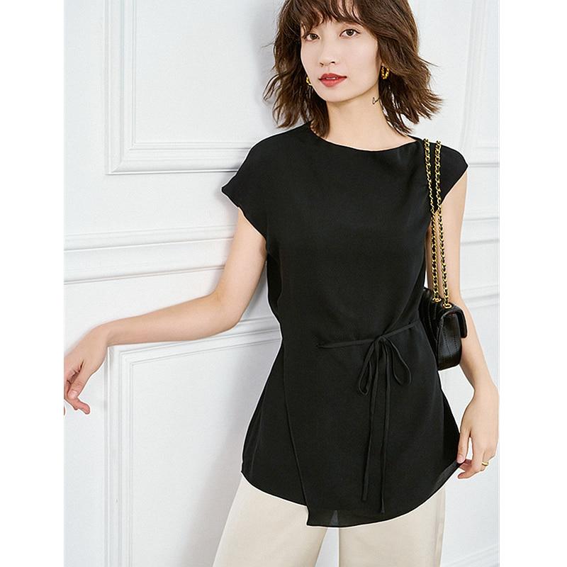 Top women asymmetry design 100% silk high quality fabric sashes sleeveless 2 colors ladies elegant t-shirt new fashion