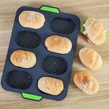 Bandeja de 8 rejillas de molde de pan práctico antiadherente DIY para hornear hamburguesas fácil de liberar francés buena flexibilidad pan silicona hornear
