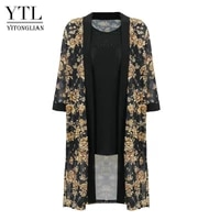 ytl women summer floral outwear open front top long tunic beach casual loose blouse shirt two pieces set plus size cardigan h432