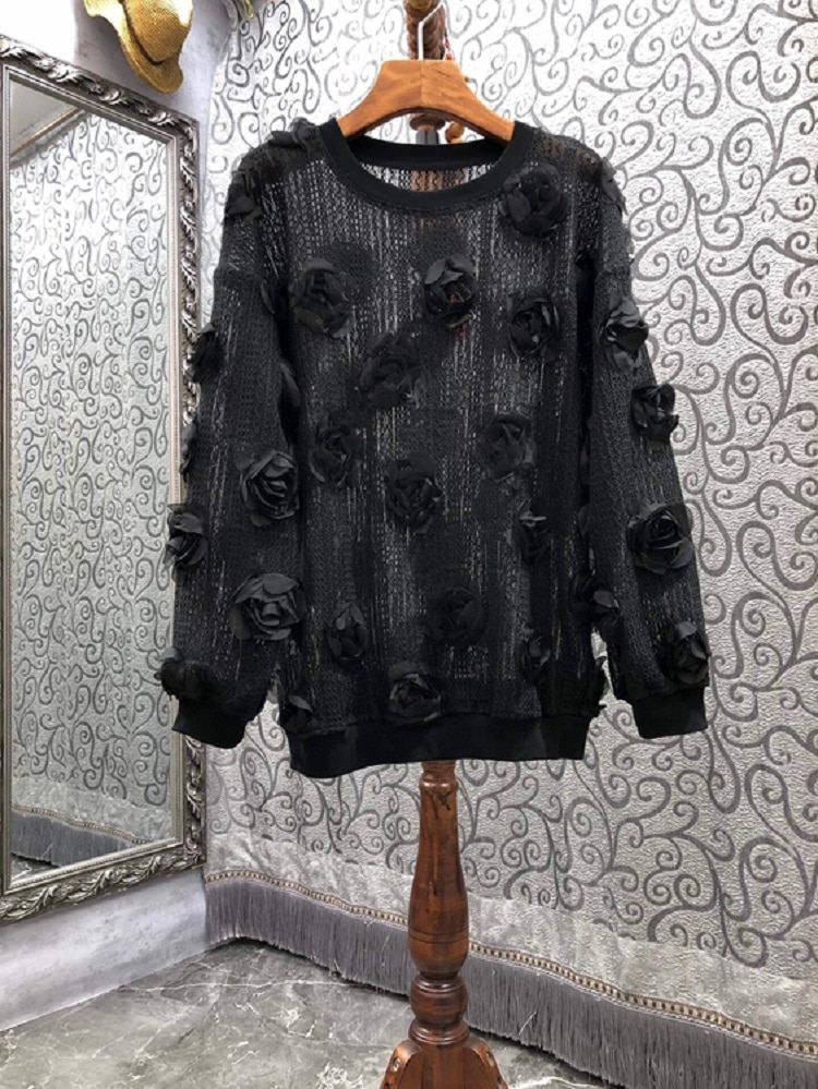 2021 Autumn Winter Fashion Black Pink Sweaters High Quality Women Rose Flower Deco Long Sleeve Casual Loose Sweaters Pullover enlarge
