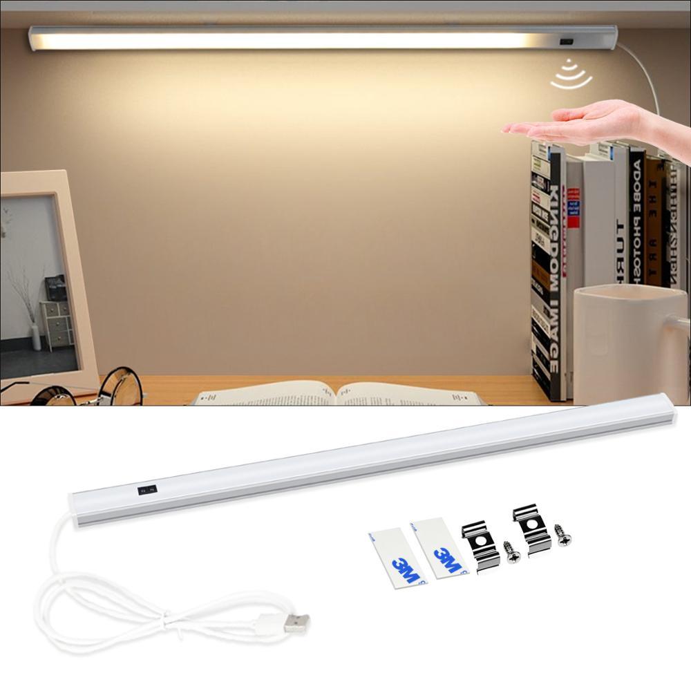 USB Luz de barra Led lámpara de escritorio de computadora gabinete de armario, mesa lámparas estudiante niños 3 colores mano barrido inteligente Sensor de luces de lectura