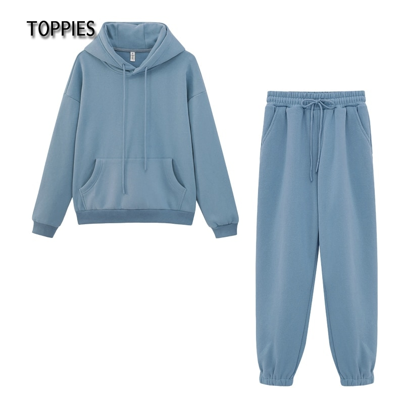 Toppies Women's Tracksuits Sports Suit Casual Hoodies Fleece Sweatshirt Female Two Piece Set Jacket Sweatpants Harajuku Clothes