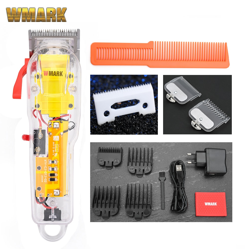 2021 WMARK NG-108 Hair Cutting Machine Transparent Style Professional Rechargeable Clipper Cord & co
