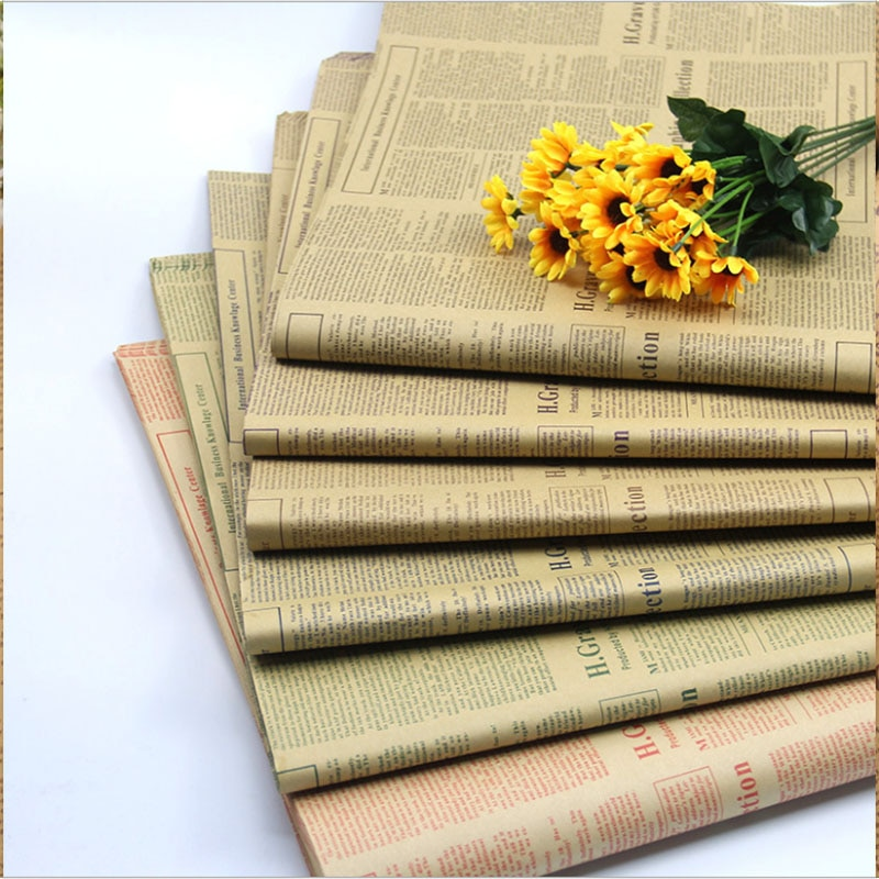 Floristería regalo flor paquete flor papel británico vintage inglés periódico paquete flor papel kraft material 50*70 cm/20