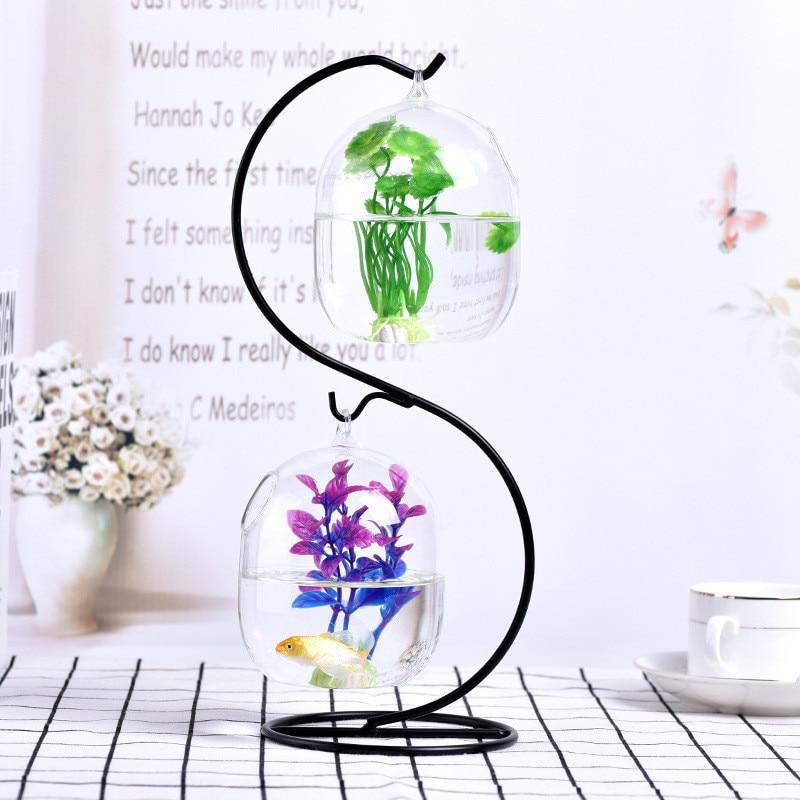 Ecosphere, pez dorado, bola colgante, acuario, tazón de tanque, florero, florero, cuenco de mesa para pequeños suministros para mascotas, accesorios