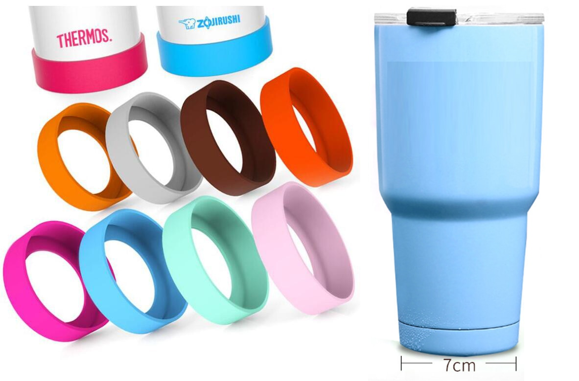 250 unids/lote 70mm 20oz/30oz nueva cubierta inferior protectora tapa goma Copa manga silicona posavasos para Taza de Viaje botella de agua