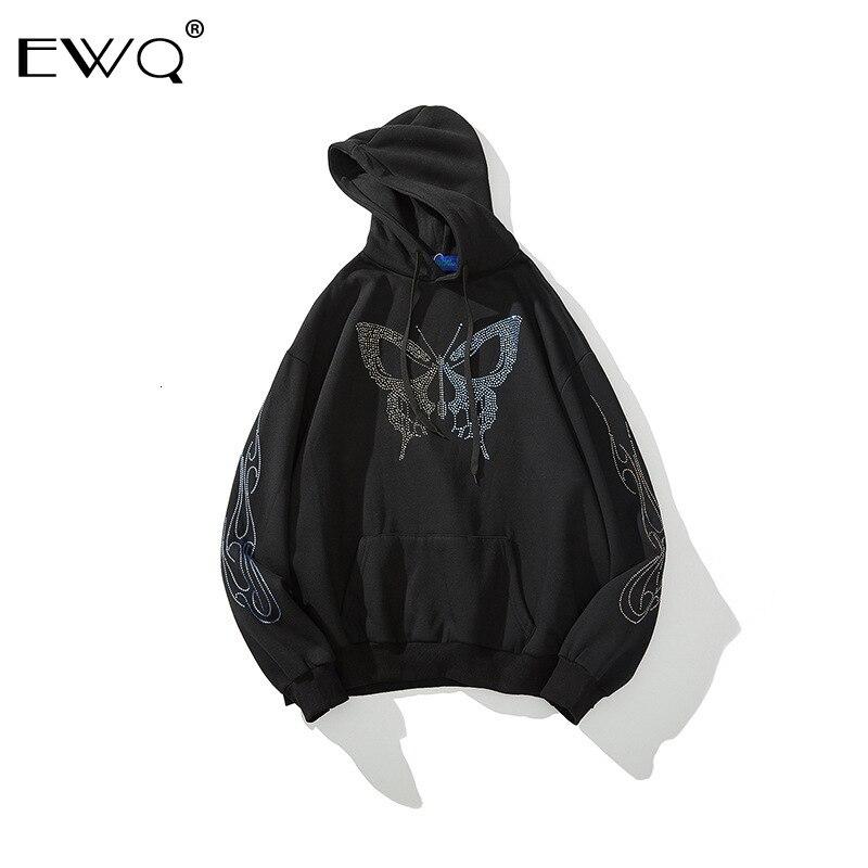 EWQ / 2020 primavera sudadera nueva marea Rhinestone mariposa impresión sudadera para los amantes negro blanco tamaño grande moda Tops 9Y142