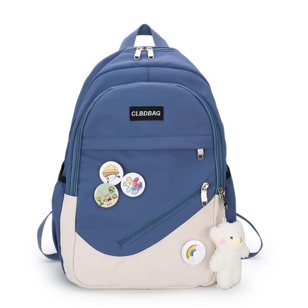 Contrast color Backpack Waterproof Nylon School Bags for Teenage Girls Fresh Leisure Or Travel Bags for Women Shoulder Bags