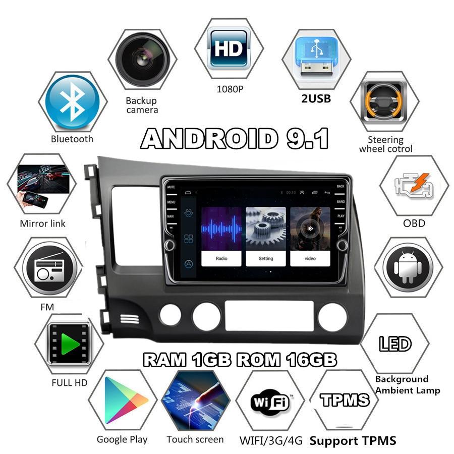 """2din 9 """"android 9.1 rádio estéreo navegação gps wifi 3g 4g bt obd para honda civic 2006 2007 2008 2009 2010 2011"""