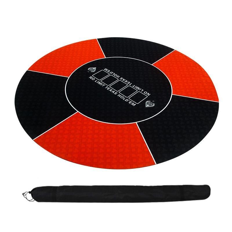 Техасский Холдем покерный макет классический красный черный 120 см резиновая скатерть круглый стол коврик макеты-0