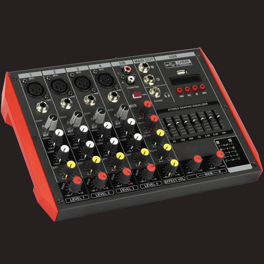 MG6 6 ميكروفون مدخل قناة الصوت المهنية الصوت المرحلة الرئيسية استوديو لايف Mixng بلوتوث EQ USB 48 فولت وحدة التحكم خلاط