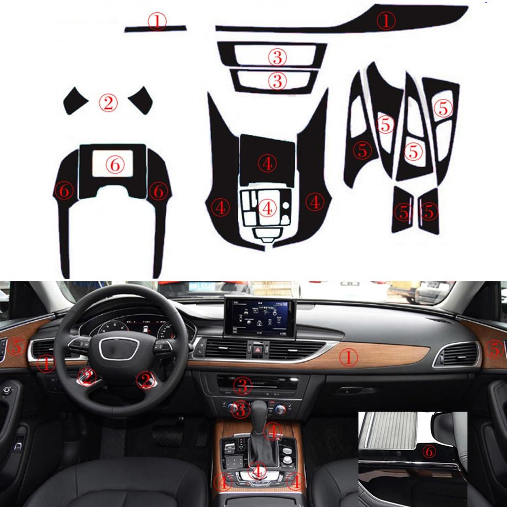 H2CNC Car 5D reflectante fibra de carbono Interior negro calcomanía Trim Dash Kit para Audi A6 2012-Up