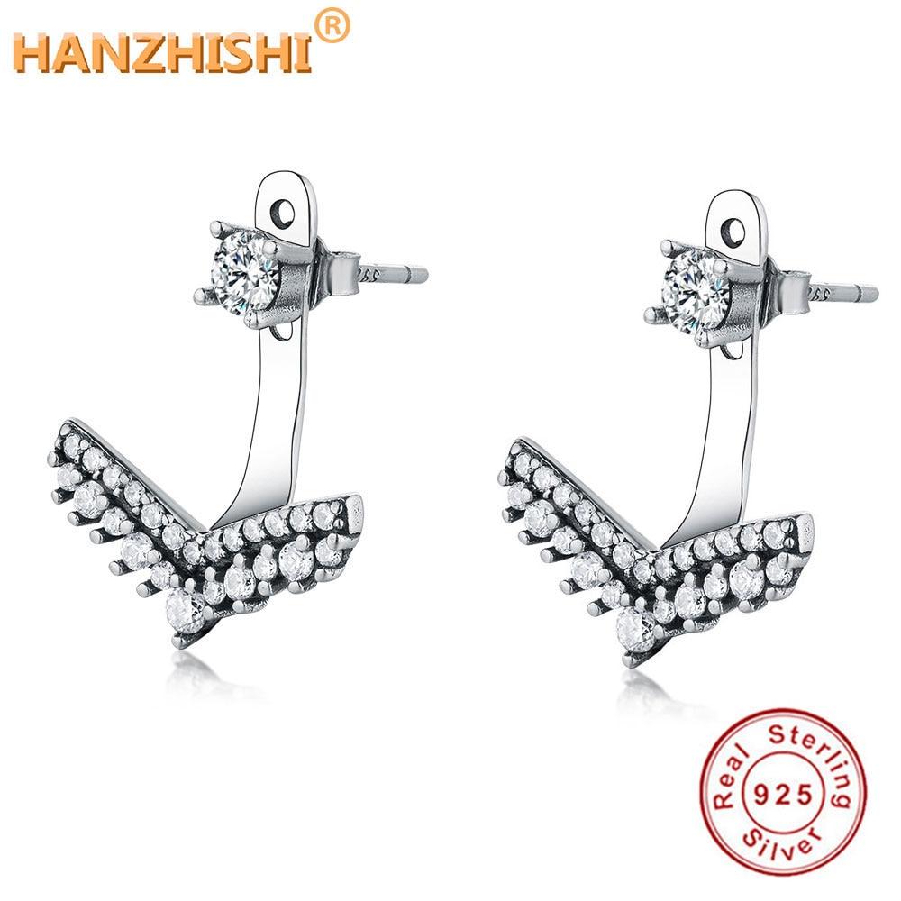 2018 coleção de inverno real 925 prata esterlina seta requintado moda simples brincos para mulheres triângulo jóias brincos