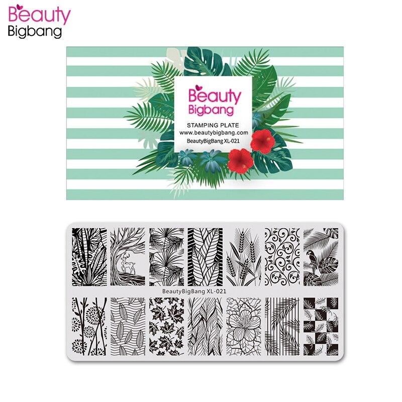 BeautyBigBang Plantilla de flor para manicura, imagen de la hoja Tema de otoño estampador de uñas Plantilla de uñas, placa de estampado, molde para uñas BBB XL-021