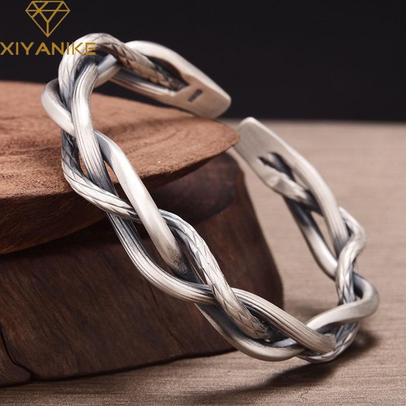 XIYANIKE 925 Sterling Silver Retro Three-strand Twist Bracelet Light Luxury All-match Elegant Couple
