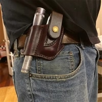 new fashion trend business retro outdoor survival edc tactical waist bag pu leather tool holster flashlight holster knife set