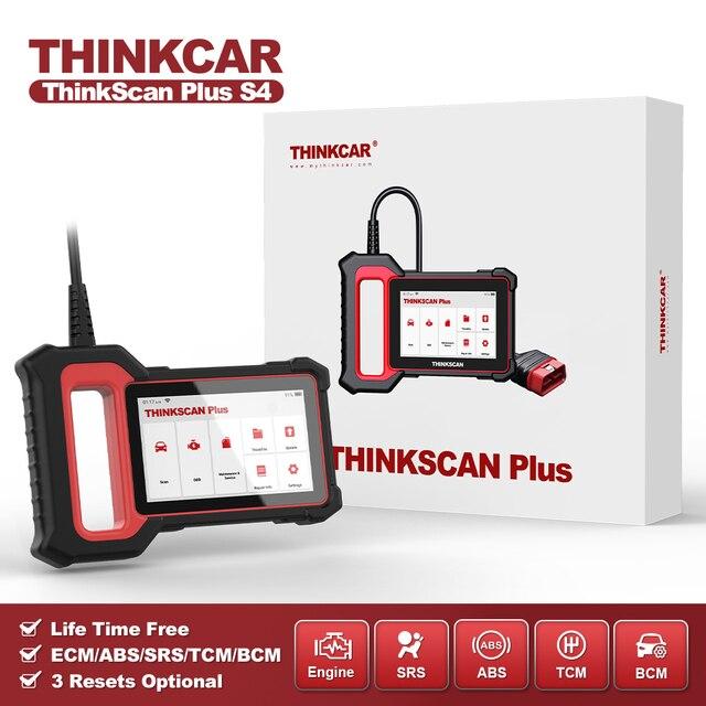 THINKCAR Thinkscan Plus S4 бессрочный, бесплатный, опциональный, 3 перезаправки, автомобильный диагностический инструмент ECM/TCM/ABS/SRS/BCM система, OBD2 автомобильный сканер