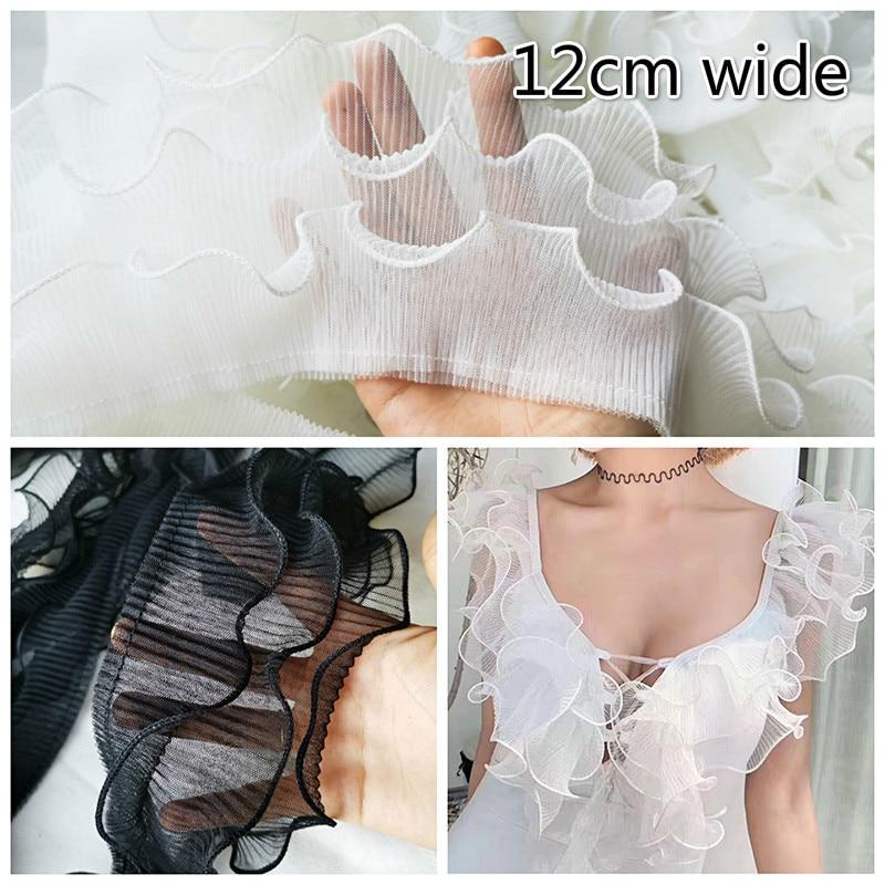 12cm de Largura Três-camada Enrugada Ruffled Tulle Rendas Material de Tecido DIY Roupas Decote Manguito Costura Saia Vestido Guarnição acessórios