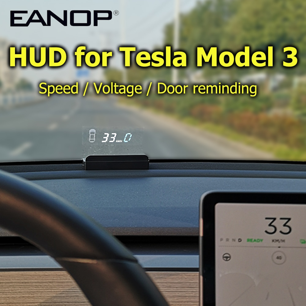 شاشة أمامية EANOP HUD E100, شاشة عرض EANOP HUD E100 لعرض السرعة وعداد السرعة وإضاءة الدوران وبطارية لنظام تسلا موديل 3 والوصول إلى السيارات