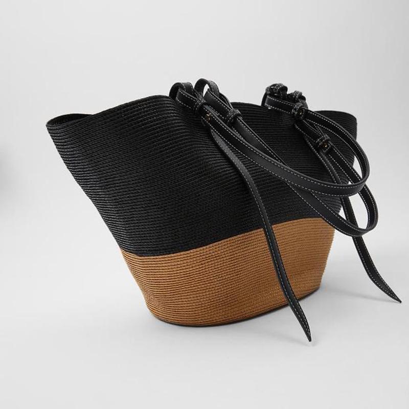 سعة كبيرة لصق حقائب قش المرأة حقيبة كتف الماركات المنسوجة المرأة حقيبة يد الصيف كبير السفر سلة الشاطئ حقيبة محفظة حمل