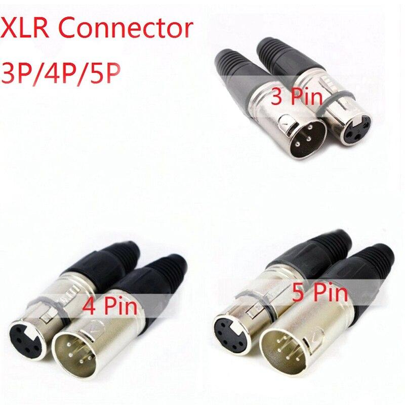 Macho y hembra 3-Pin 4-Pin 5-Pin micrófono XLR Audio Cable conectores Cannon Cable terminales