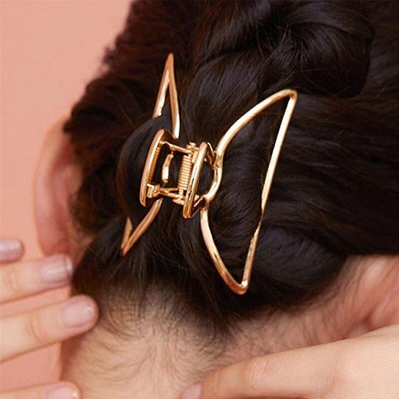 Metal Geometric Crab Clips Hair Claw Clips for Women Girls  Fashion Barrette Ladies Make Up Bun Maker Hairpins Ponytail Hairgrip