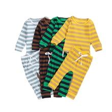 Enfant en bas âge bébé filles garçons ensemble de pyjamas, à manches longues côtes tricot rayures haut + pantalon 2 pièces ensemble dintérieur printemps automne vêtements 6M-4T