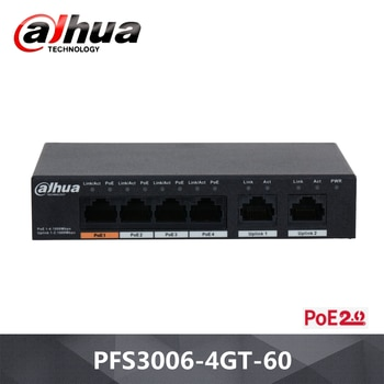 Dahua 6-Port Unmanaged Desktop Switch with 4-Port PoE PFS3006-4GT-60 Wide working temperature