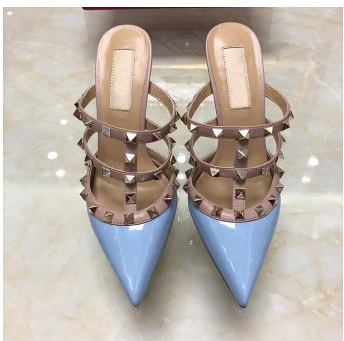 Zapatos de marca 2020 de color azul cielo para mujer, Sandalias de tacón alto con remaches de 6 cm, 8 cm, 10 cm, zapatos de tacón fino para boda, zapatos de tacón puntiagudo