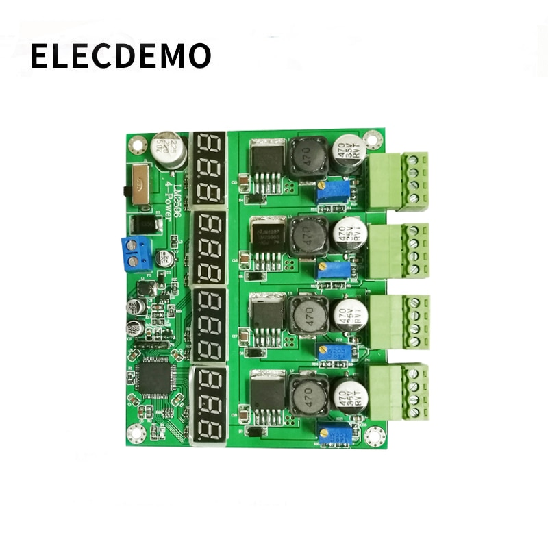 power supply module multi-channel switching four digital display LM2596  DC-DC adjustable buck output