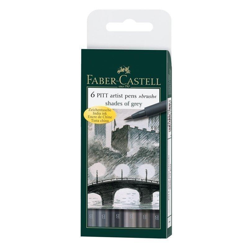 """Набор капиллярных ручек Faber-Castell """"Pitt Artist Pen Brush"""" оттенки серого, 6шт., пластик. уп., европодвес"""