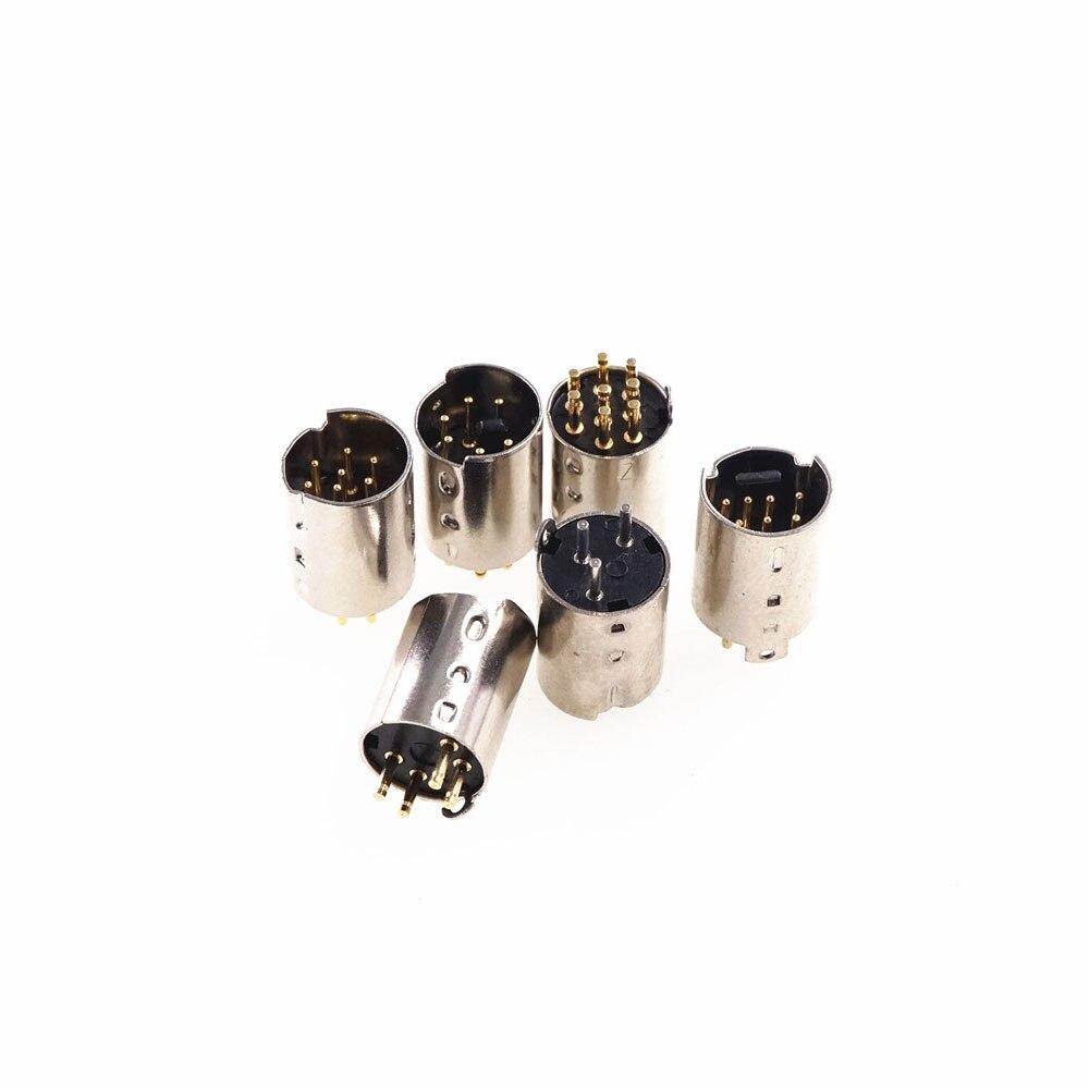 5 stücke Mini Din Stecker Männlichen Din Stecker 3 4 5 6 7 8 9 10 Pin PCB mount Gerade CNC gefräste Header Pins Stecker Bord Solder