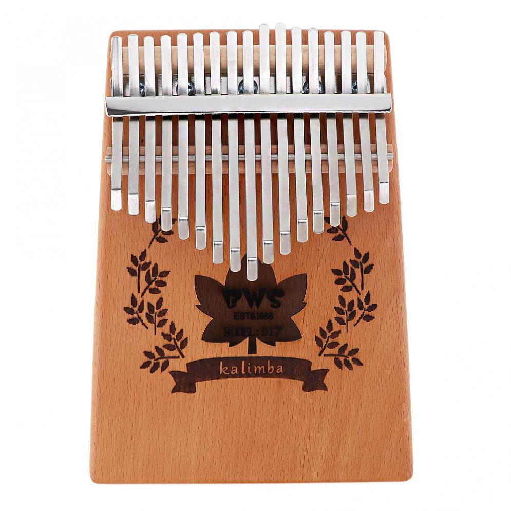 Thumb Piano 17 Key Kalimba Mahogany Thumb Piano with Maple Leaf Sound Hole Mbira Natural Mini Keyboard Instrument enlarge