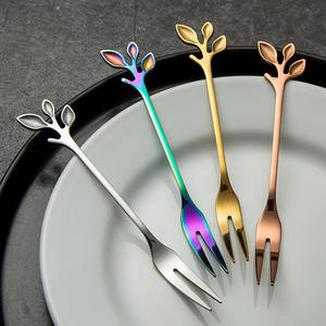 Creative Branch Leaves Dessert Spoon/Fork Silver Gold Rose Exquisite Leaf Fruit Fork Coffee Dessert Spoon Gift Tableware Kitchen