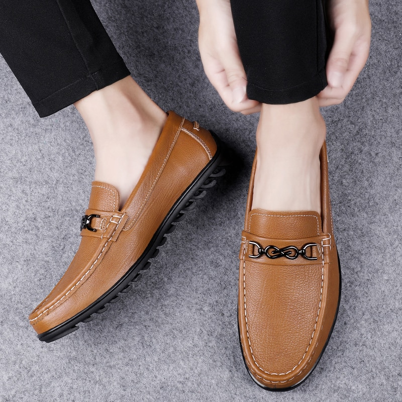 Fashion Men's Shoes Casual Genuine Leather Loafers Male Classics Solid Slip On Shoe Man Flats Comfortable Driving Shoes For Men