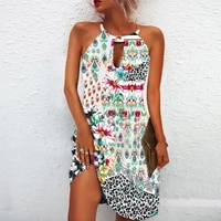 new iron chain halter hollow out dresses 2021 spring floral print retro party dress summer sleeveless a line beach dress