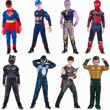 Superhero Cosplay Costume For Kids Captain America Superman Iron Man Thor Hulk Flash Hallowe Muscle Jumpsuit Suit Costume