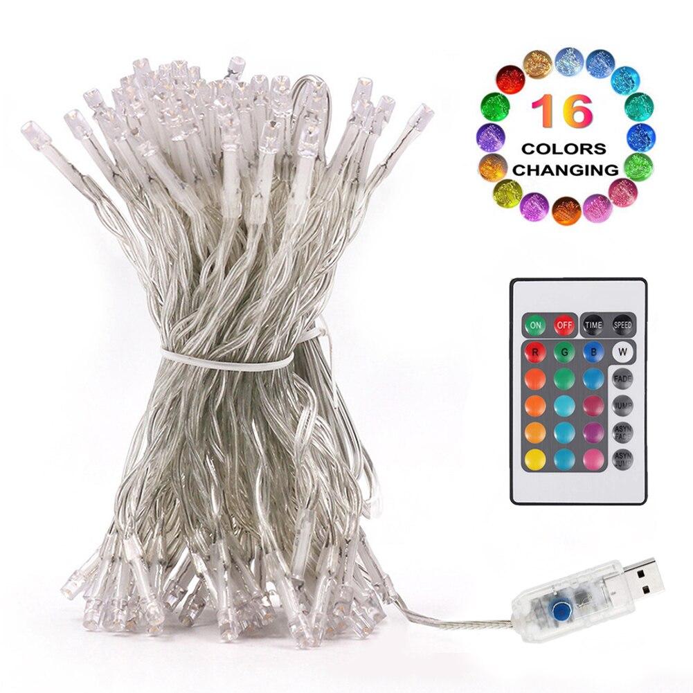 16 Farbwechsel USB 10M Led String Licht 8 modi Fernbedienung RGB Fee Garland Home Weihnachten Hochzeit Party garten Decor LED-Kette    -