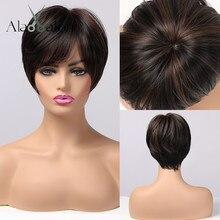 ALAN EATON-Peluca de cabello sintético para mujer, cabellera artificial liso con reflejos, color negro y marrón, pelo Natural resistente al calor con flequillo