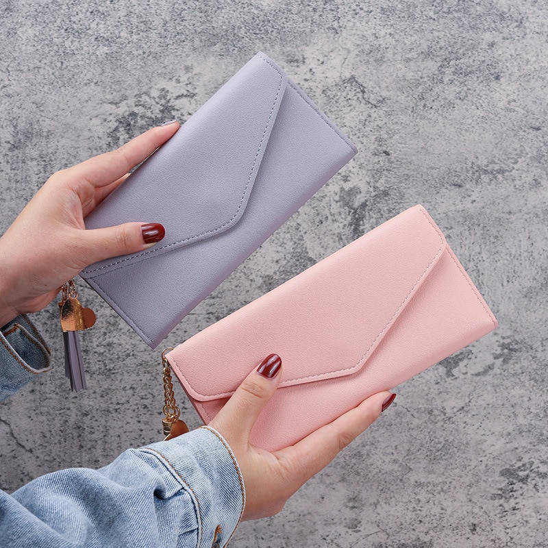 Wallet for Women Pink Clutch Thin Pu Leather Portemonnee with Secret Compartment Zipper Hasp Long Card Holder Ladies Coin Purse