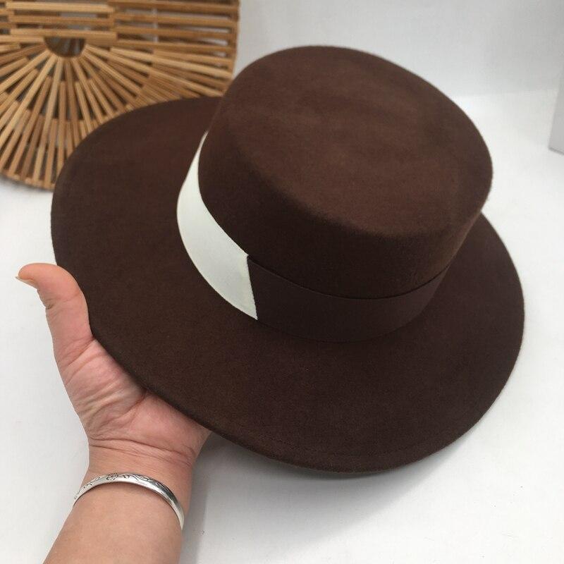 Panamá Europa y los Estados Unidos la nueva lana de moda joker plano superior costura Fedora literaria grace sombrero mujeres británico
