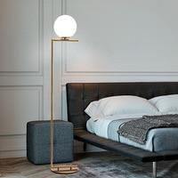 Nordic Modern Glass Bulb Vertical Lamp Gold Floor Lamp Personalized Bedroom Bedside Living Room Sofa Ball Brass Floor Light