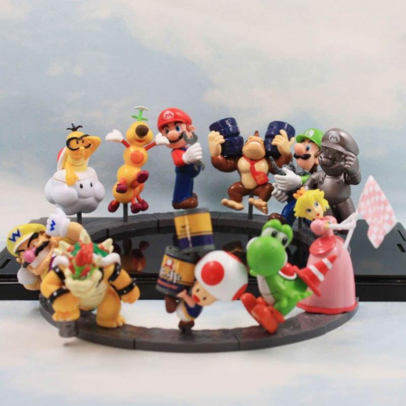 11 шт./лот 8 см Super Mario Bros Peach Toad Mario Luigi Yoshi Donkey Kong Bowser ПВХ фигурки куклы игрушки Бесплатная доставка
