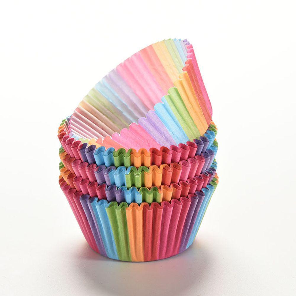 100 шт. Радужный цвет, чашка для выпечки для кексов, бумажный торт для кексов/кондитерский мешок для крема, мешок, формочка, Инструменты для декорирования