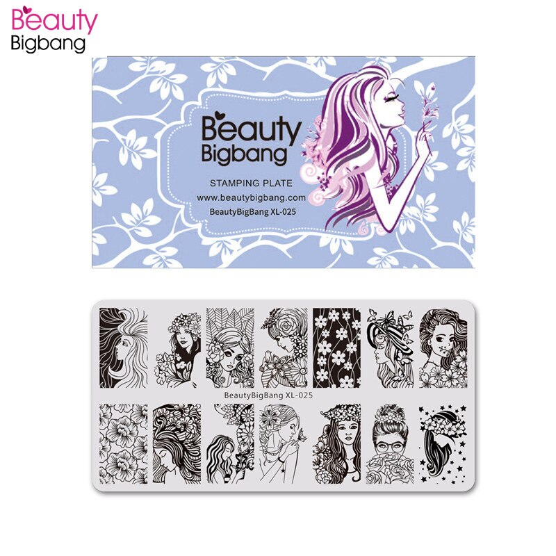 BeautyBigBang estampado de acero inoxidable para uñas chica joven imagen de flor estampador de uñas Plantilla de uñas placas de estampado de uñas