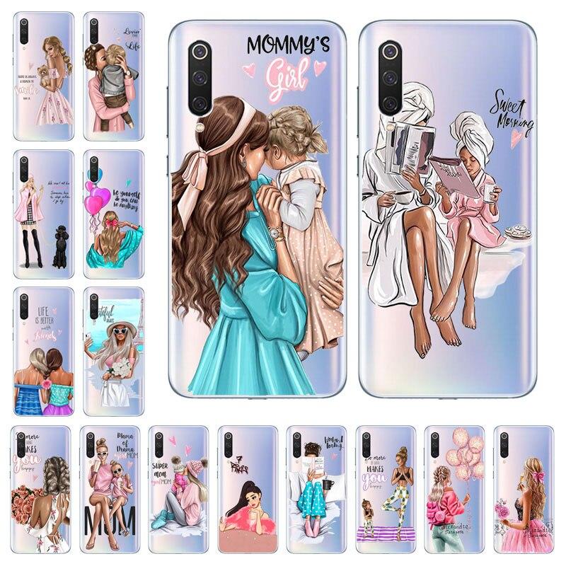 Negro marrón Popular del pelo del bebé mamá chica reina Coque casos de teléfono para Xiaomi Redmi 7 7A 6 6A 5 5A 4X 4A suave TPU funda de silicona